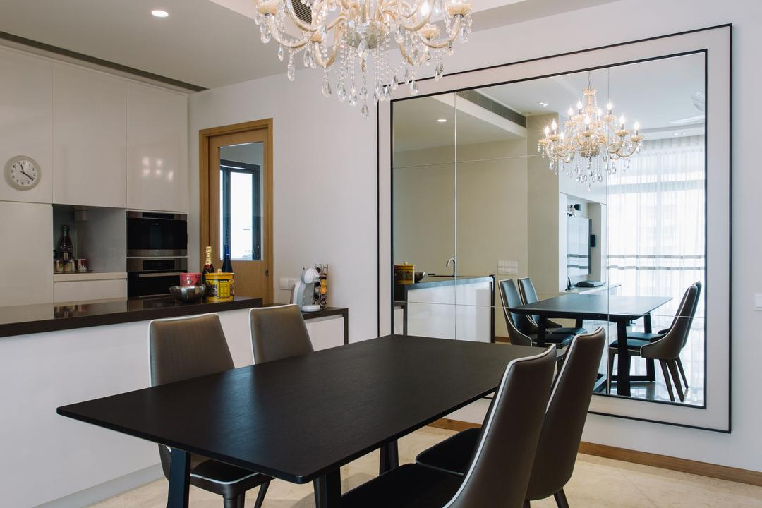 Surrey Road, Designe Couture, Contemporary, Vintage, Dining Room, Condo, Chandelier, Big Mirror, Wall Mirror, Fabric Dining Chairs, Elegant, Opulent, Dry Kitchen, Kitchen Counter, Recessed Lightings