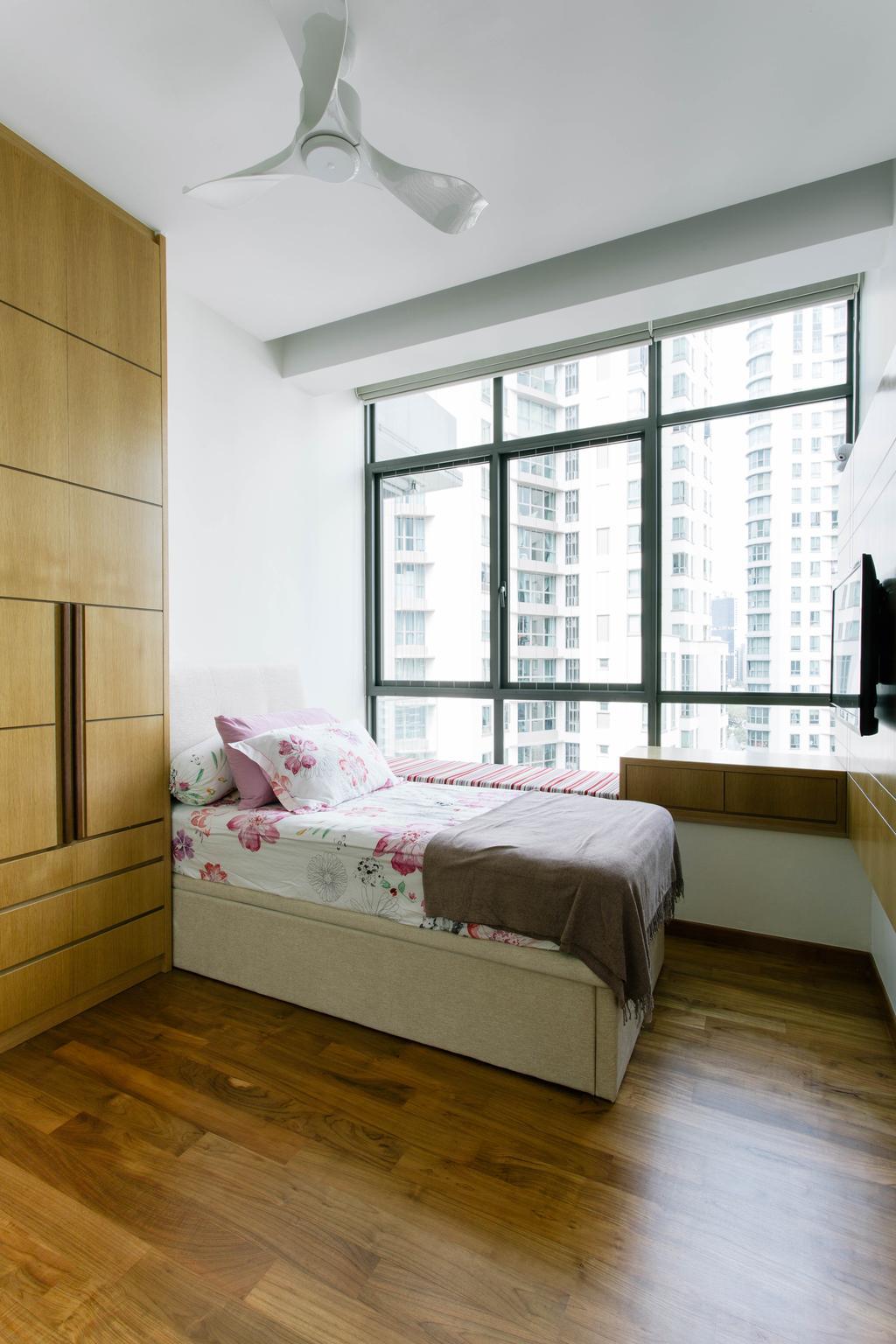 Contemporary, Condo, Bedroom, Surrey Road, Interior Designer, Designe Couture, Vintage, Bay Window, Window Ledge, Storage On Bay Window, Parquet Flooring, Kids Room