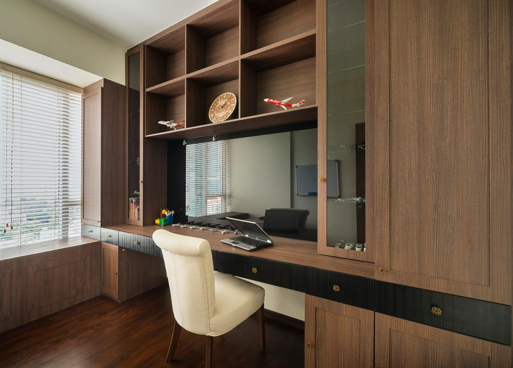 Transitional, Condo, Study, Derbyshire, Interior Designer, Third Avenue Studio, Rustic, Parquet, Wood Laminate, Wood, Laminate, Cubbyholes, Display Shelf, Shelves, Chair, Glass Display, Venetian Blinds, Window Seat, Wall Panels, Table, Study Table, Cabinet, Furniture, Indoors, Interior Design, Kitchen, Room