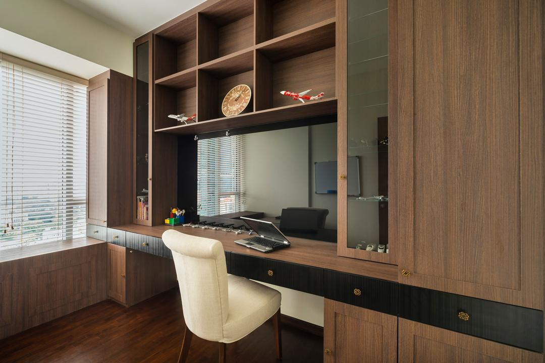 Derbyshire, Third Avenue Studio, Transitional, Study, Condo, Rustic, Parquet, Wood Laminate, Wood, Laminate, Cubbyholes, Display Shelf, Shelves, Chair, Glass Display, Venetian Blinds, Window Seat, Wall Panels, Table, Study Table, Cabinet, Furniture, Indoors, Interior Design, Kitchen, Room
