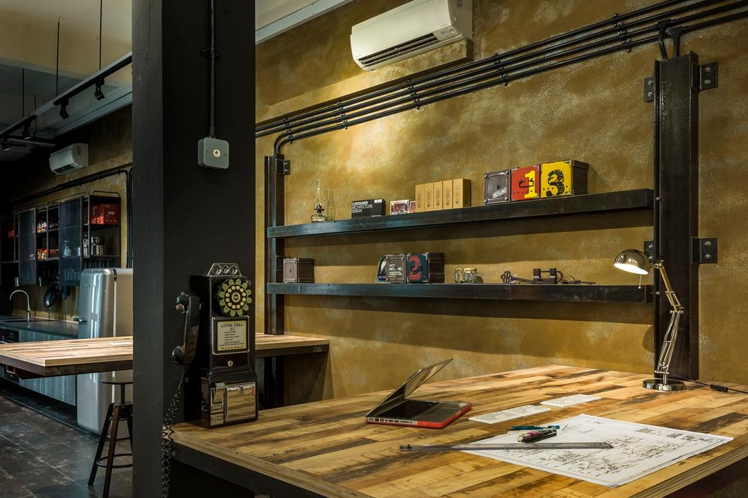 Kim Yam Road (River Valley), Third Avenue Studio, Industrial, Study, Commercial, Study Table, Wood Laminate, Wood, Laminate, Stools, Lamp, Telephone, Display Shelf, Shelf, Shelves, Tile, Tiles, Columns, Brown, Track Lighting, Appliance, Electrical Device, Microwave, Oven