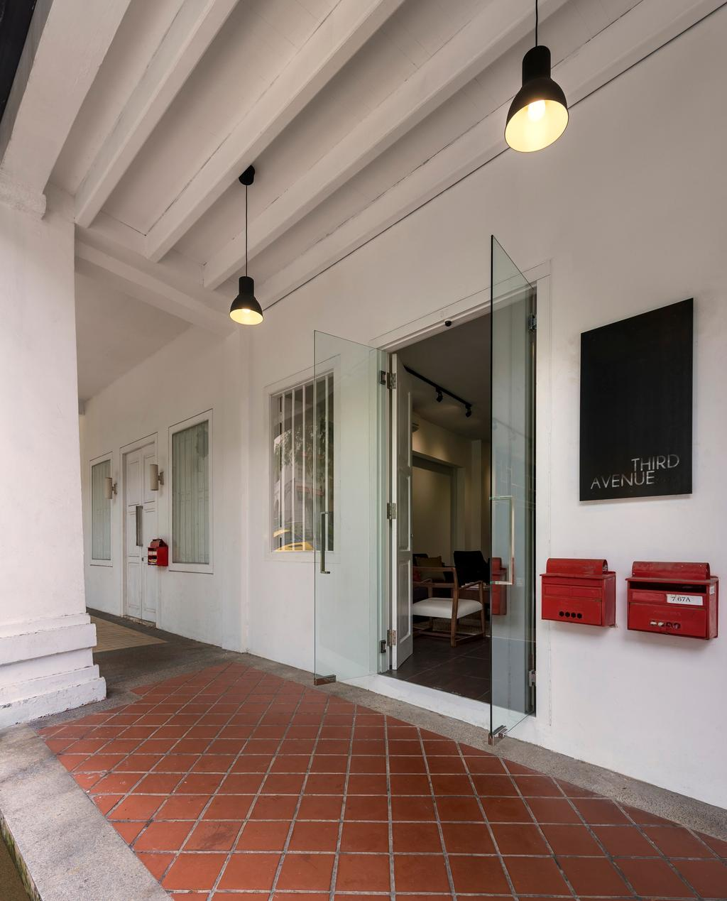 Kim Yam Road (River Valley), Commercial, Interior Designer, Third Avenue Studio, Industrial, Outdoors, Exterior, Glass Doors, White, Tile, Tiles, HDB, Building, Housing, Indoors, Loft