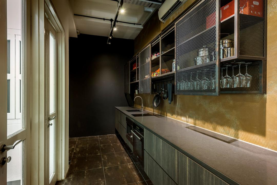 Kim Yam Road (River Valley), Third Avenue Studio, Industrial, Kitchen, Commercial, Kitchen Counter, Track Lighting, Shelf, Shelves, Grills, Haning Wine Glass Rack, Doors, Tile, Tiles, Appliance, Electrical Device, Oven, Balcony