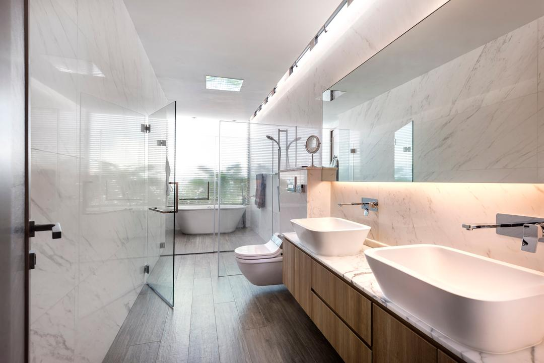Ramsgate Road (Mountbatten), Third Avenue Studio, Modern, Bathroom, Landed, Vessel Sink, Marble Surface, Mirror, Concealed Lighting, Bathroom Counter, Plank Flooring, Parquet, Marble Wall, Glass Cubicle, Glass Doors, Bathtub, Wood Laminate, Wood, Laminate, Indoors, Interior Design, Room, Sink