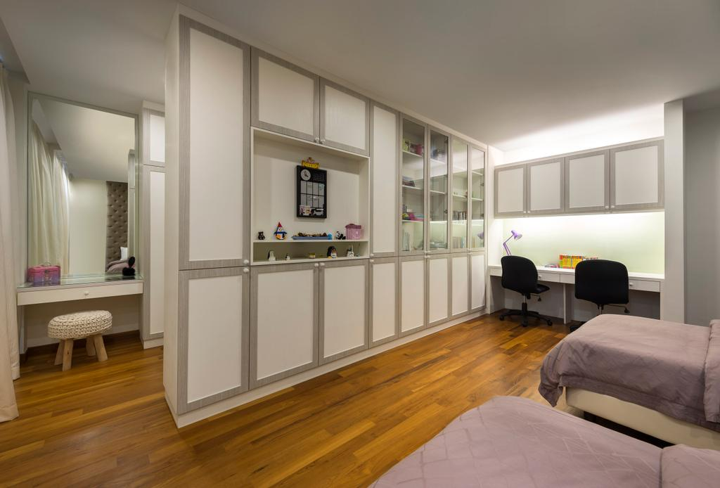 Modern, Landed, Bedroom, Ramsgate Road (Mountbatten), Interior Designer, Third Avenue Studio, Parquet, Cabinet, Storage, Indented Wall, Recessed Wall, Display Shelf, Shelf, Shelves, Concealed Lighting, Mirror, Table, Mounted, Stools, White, HDB, Building, Housing, Indoors, Bed, Furniture
