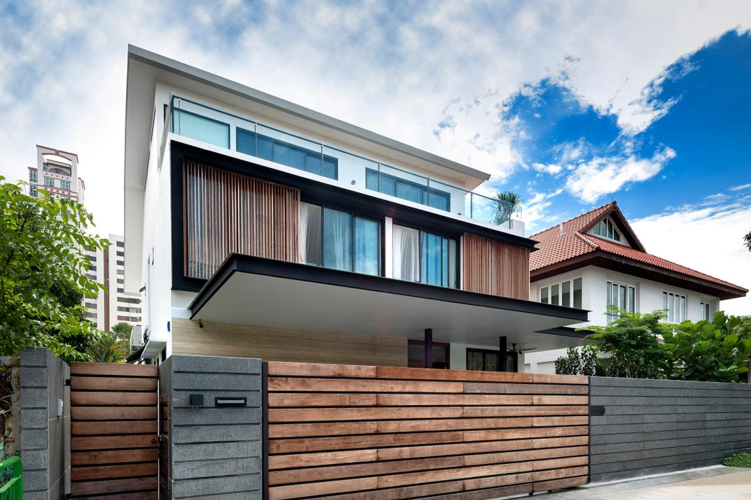 Ramsgate Road (Mountbatten), Third Avenue Studio, Modern, Landed, Exterior, Outdoors, Gate, Wood Laminate, Wood, Laminate, Awning, Woodwork, Building, Office Building, Flora, Jar, Plant, Potted Plant, Pottery, Vase