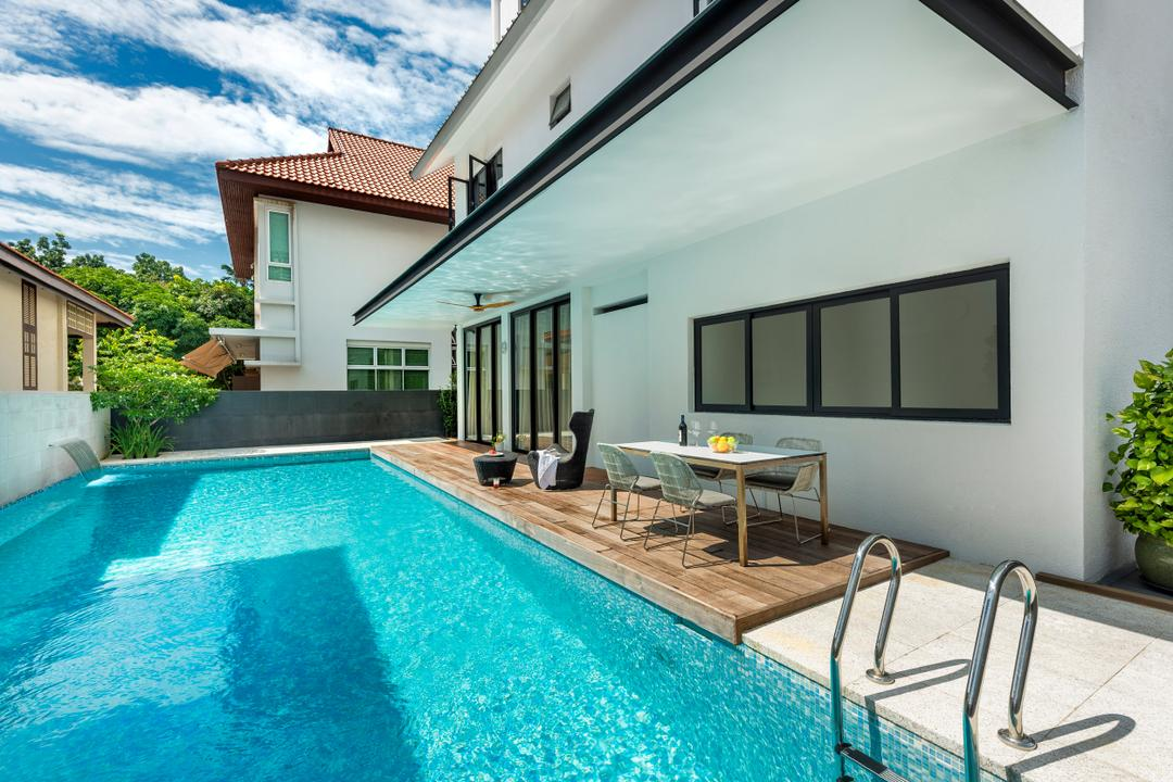 Ramsgate Road (Mountbatten), Third Avenue Studio, Modern, Balcony, Landed, Swimming Pool, Platform, Parquet, Dining Table, Table, Chair, Glass Sliding Doors, White, Outdoors, Building, House, Housing, Villa, Pool, Water, Hotel, Resort