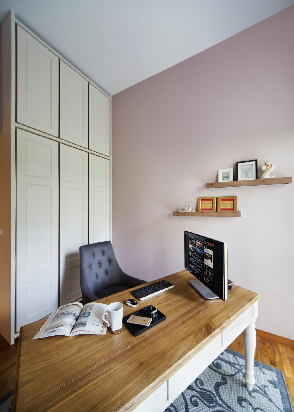 Vintage, Condo, Study, Twin Waterfalls, Interior Designer, The Scientist, Lilac Wall, Wainscoting Details, Armchair, Rug
