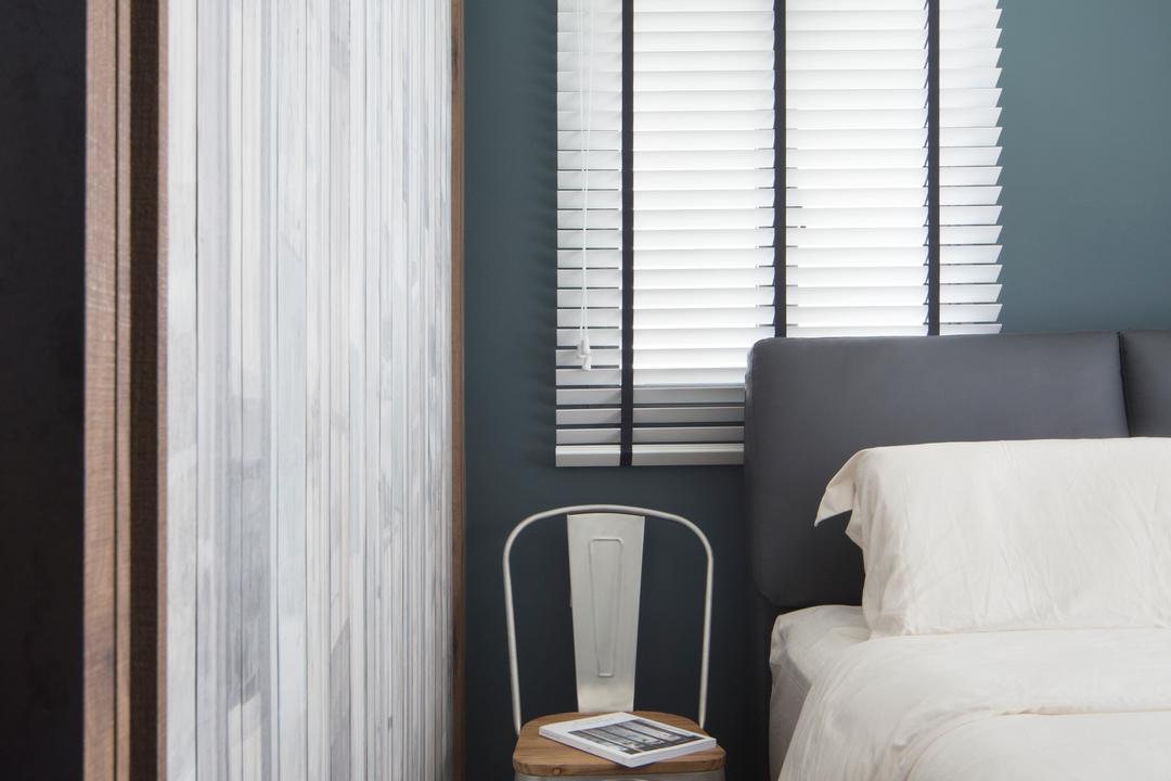 SkyVille @ Dawson, The Scientist, Eclectic, Bedroom, HDB, Tolix Chair, Bedside, Venetian Blinds, Bedframe, Big Bed, King Sized Bed, Master Bedroom