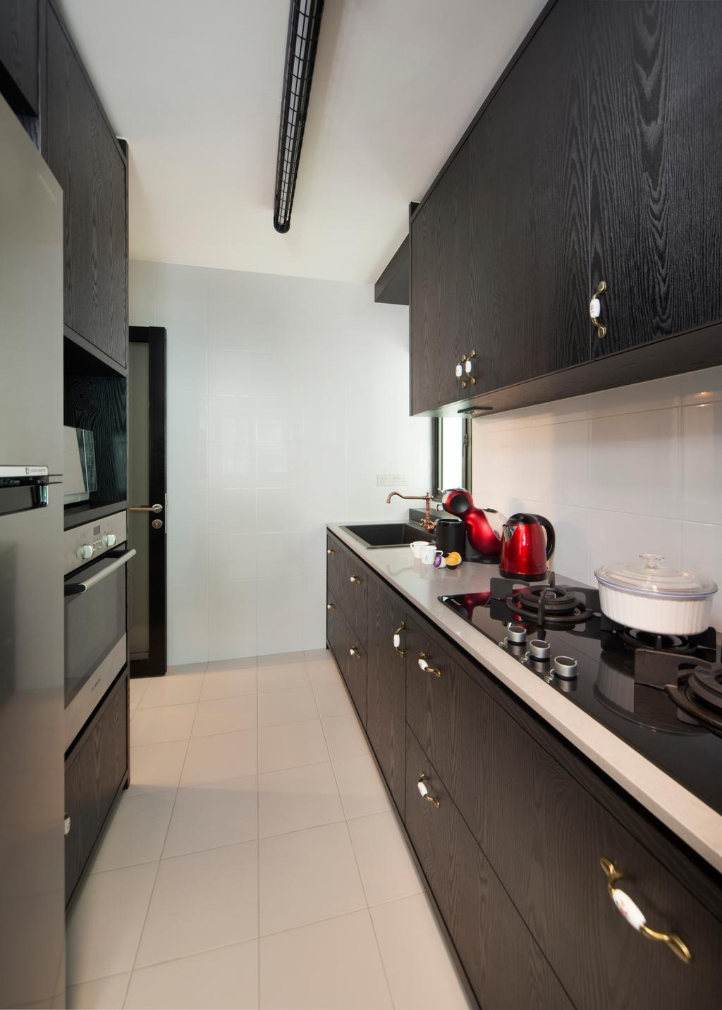 Eclectic, HDB, Kitchen, SkyVille @ Dawson, Interior Designer, The Scientist, Gallery Kitchen, Linear Layout, Narrow Layout, Stove, Oven, Kitchen Appliances, Fridge, Refrigerator, Simple, Appliance, Electrical Device, Indoors, Interior Design, Room