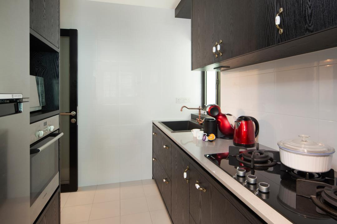 SkyVille @ Dawson, The Scientist, Eclectic, Kitchen, HDB, Gallery Kitchen, Linear Layout, Narrow Layout, Stove, Oven, Kitchen Appliances, Fridge, Refrigerator, Simple, Appliance, Electrical Device, Indoors, Interior Design, Room
