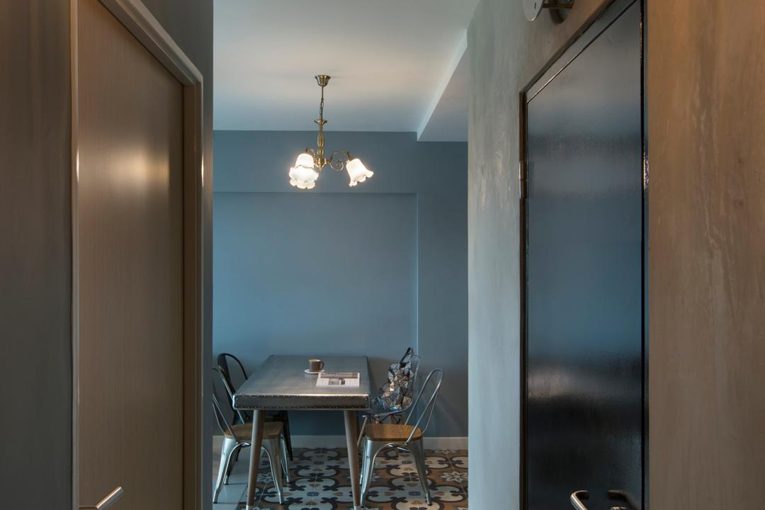 SkyVille @ Dawson, The Scientist, Eclectic, Dining Room, HDB, Patterned Flooring, Mish Mash Patterns, Mixed Patterns, Pattern Clash, Walkway, Hallway, Corridor, Steel Blue, Tolix Chair, Industrial Style Chairs, Caged Lamps, Light Fixture, Dining Table, Furniture, Table