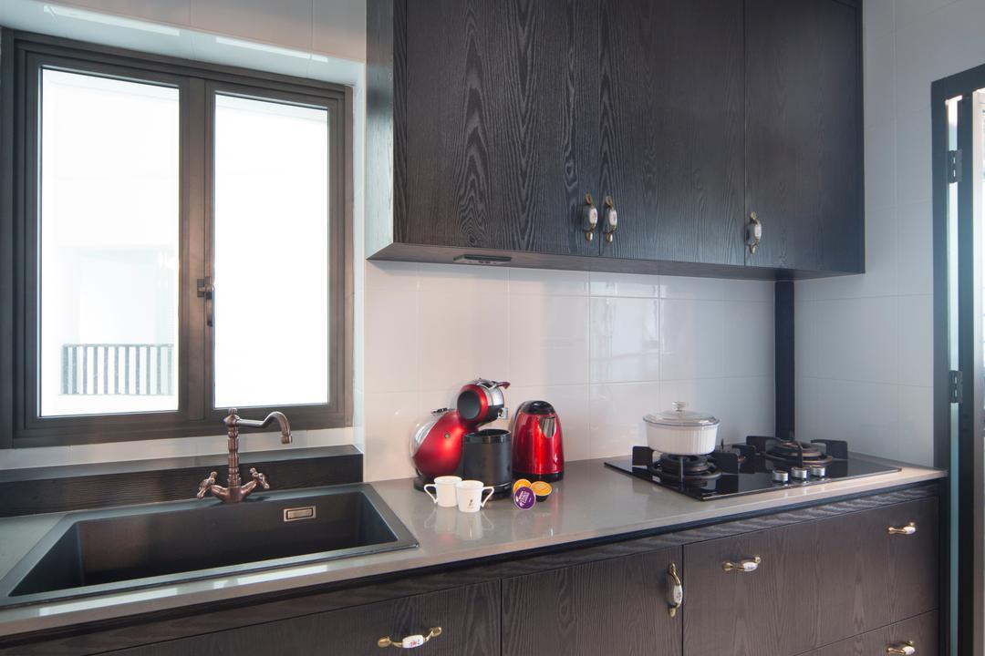 SkyVille @ Dawson, The Scientist, Eclectic, Kitchen, HDB, Dark Colours, Dark Wood, Wood Grain, Wood Detailing, Wood Details, Door Handle, Tiles, Kitchen Sink, Stove, Indoors, Interior Design, Room
