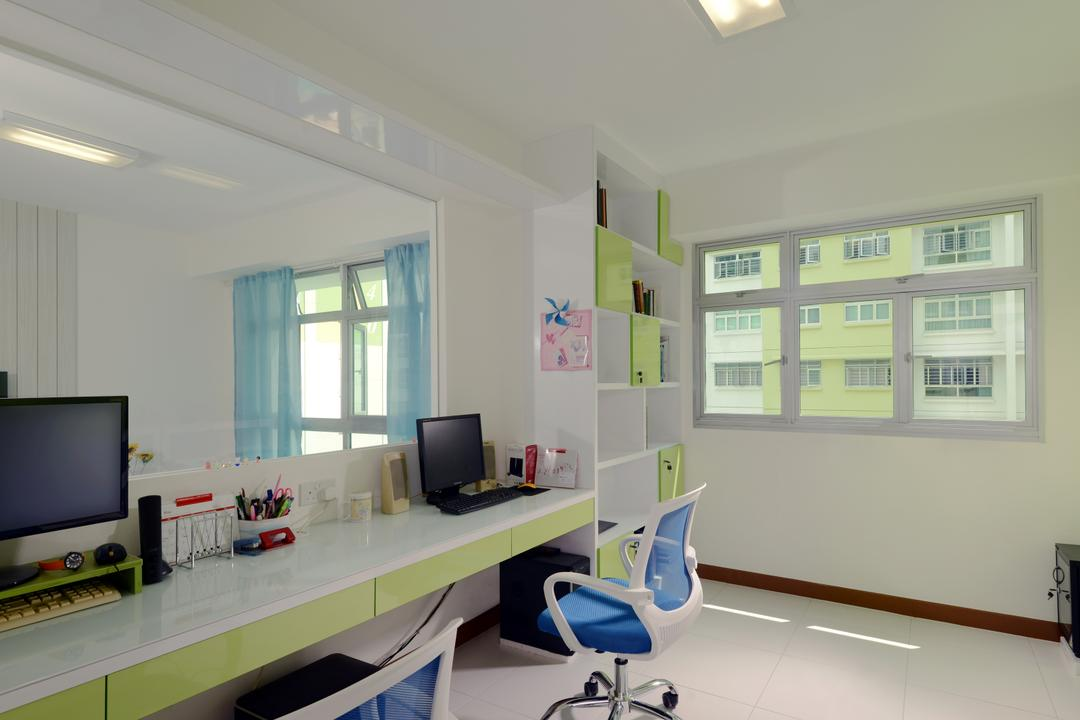 Yishun Avenue 1 (Block 428B), Urban Habitat Design, Scandinavian, Study, HDB, Office Chair, Study Table, Work Area, Computer, Half Hack, Shelves, Bookshelf