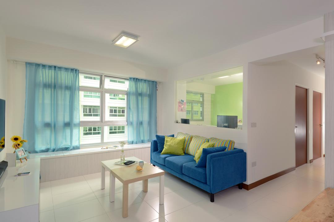 Yishun Avenue 1 (Block 428B), Urban Habitat Design, Scandinavian, Living Room, HDB, Blue, Blue Furniture, Blue Sofa, Three Seater Sofa, Fabric Sofa, Colours, Colourful, Coffee Table, Blue Curtain, Half Hack, Dining Table, Furniture, Table, Couch, Indoors, Interior Design