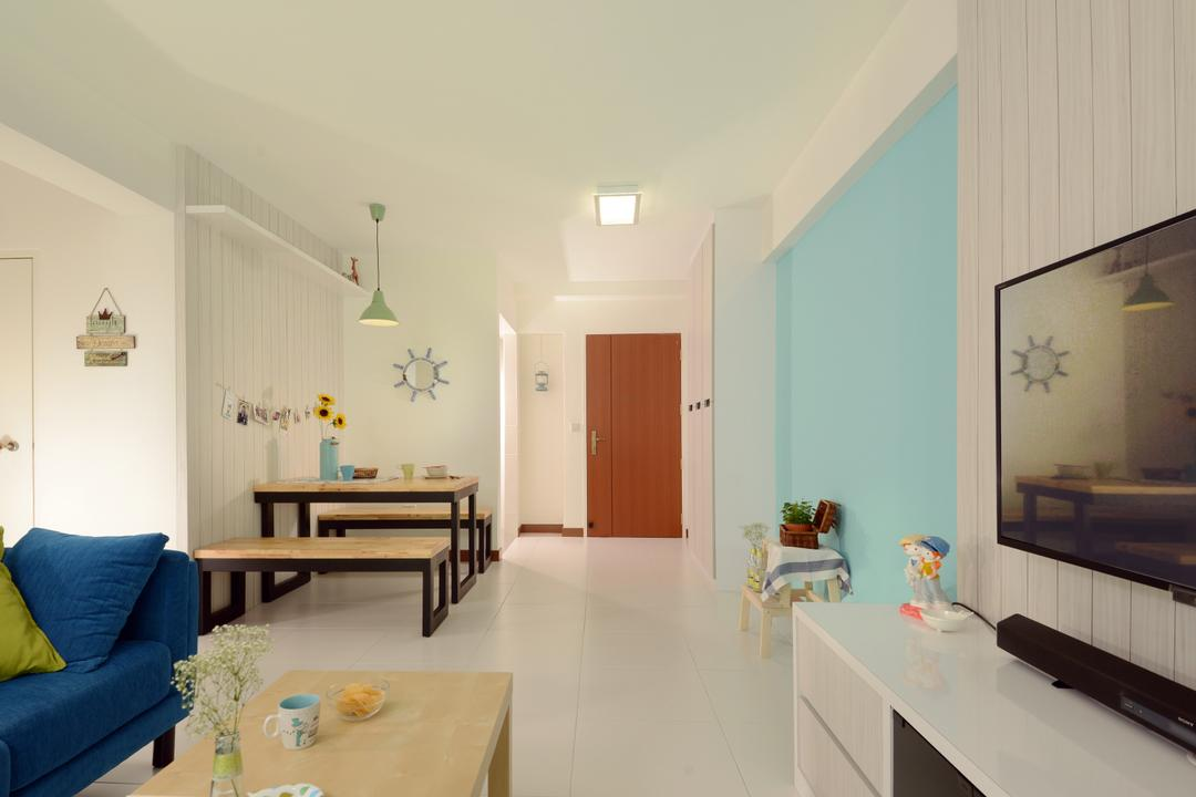 Yishun Avenue 1 (Block 428B), Urban Habitat Design, Scandinavian, Living Room, HDB, Blue Wall, Baby Blue Wall, Door, Bench, Wooden Bench, Pendant Lamp, Hanging Lamp, Green Lamp, Couch, Furniture, Indoors, Interior Design, Dining Table, Table