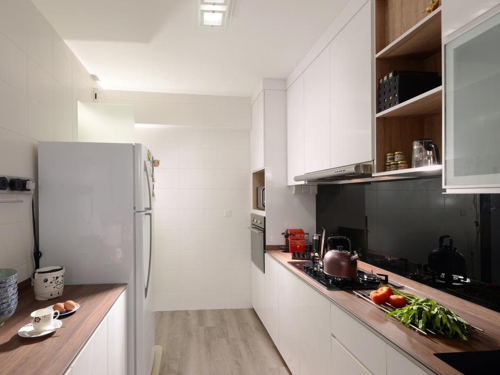 Minimalistic, HDB, Kitchen, Segar Road (Block 546A), Interior Designer, Urban Habitat Design, Kitchen Countertop, Wood Countertop, Kompacplus, Backplash, White Kitchen Cabinet, Cabinetry, Cutlery, Spoon, Appliance, Electrical Device, Microwave, Oven