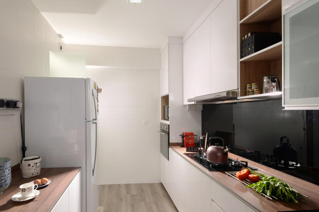 Segar Road (Block 546A), Urban Habitat Design, Minimalistic, Kitchen, HDB, Kitchen Countertop, Wood Countertop, Kompacplus, Backplash, White Kitchen Cabinet, Cabinetry, Cutlery, Spoon, Appliance, Electrical Device, Microwave, Oven
