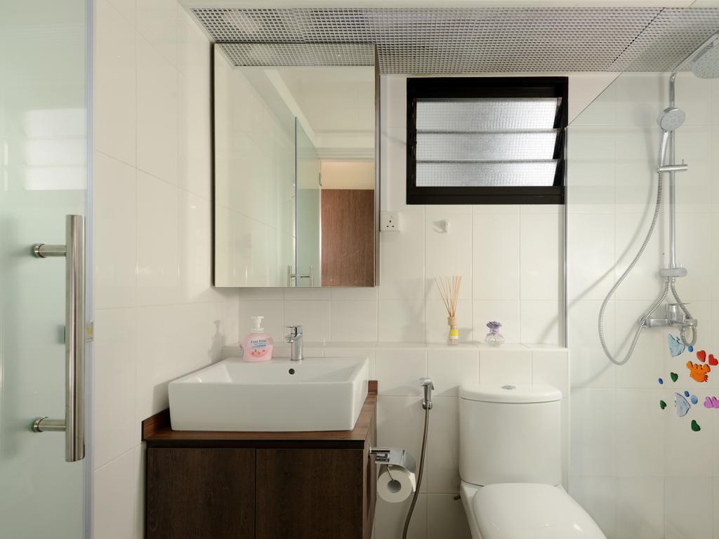 Minimalistic, HDB, Bathroom, Segar Road (Block 546A), Interior Designer, Urban Habitat Design, Simple Bathroom, Bathroom Vanity, Bathroom Cabinet, Mirror, Water Closet, Toilet Bowl, Shower Screen, Indoors, Interior Design, Room, Toilet
