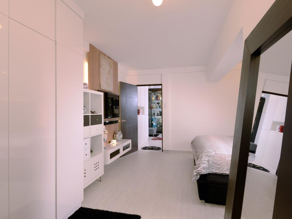 Contemporary, HDB, Bedroom, Bishan (Block 237), Interior Designer, Urban Habitat Design, White Bedroom, White Colour, All White, Cabinet, White Cabinet, Bed, Furniture