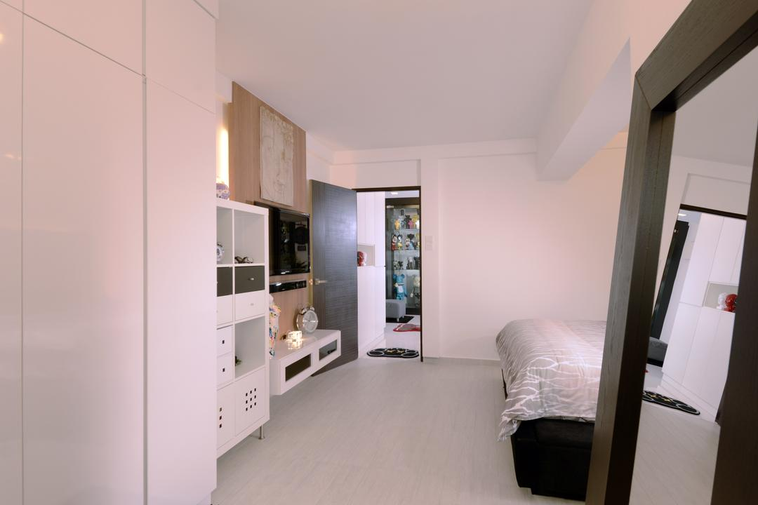 Bishan (Block 237), Urban Habitat Design, Contemporary, Bedroom, HDB, White Bedroom, White Colour, All White, Cabinet, White Cabinet, Bed, Furniture