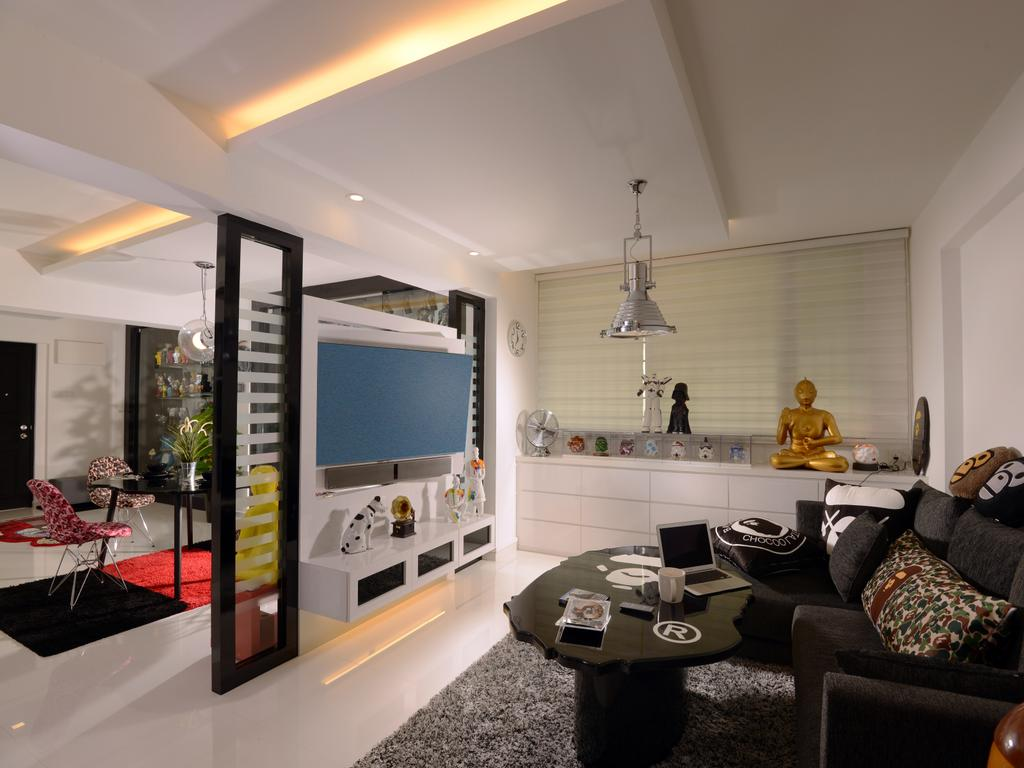 Contemporary, HDB, Living Room, Bishan (Block 237), Interior Designer, Urban Habitat Design, Silver Pendant Lamp, Blinds, Roller Blinds, Cabinet, White Cabinet, Side Cabinet, Black Sofa, Tv Partition, Couch, Furniture, Indoors, Interior Design