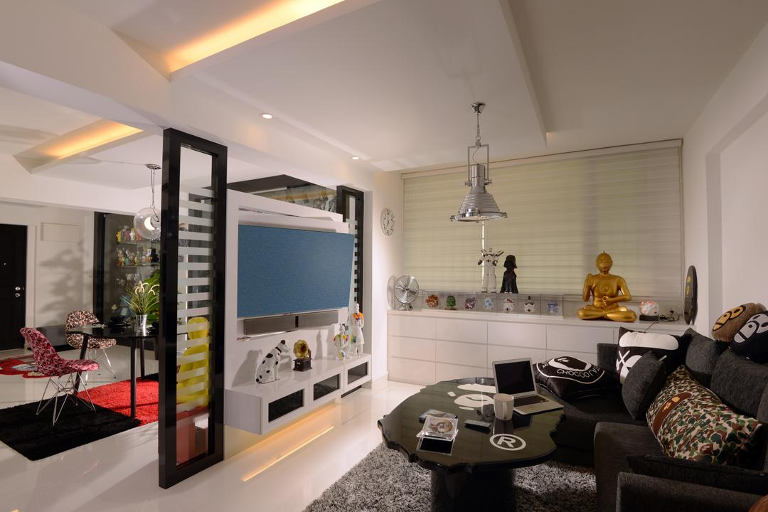 Bishan (Block 237), Urban Habitat Design, Contemporary, Living Room, HDB, Silver Pendant Lamp, Blinds, Roller Blinds, Cabinet, White Cabinet, Side Cabinet, Black Sofa, Tv Partition, Couch, Furniture, Indoors, Interior Design
