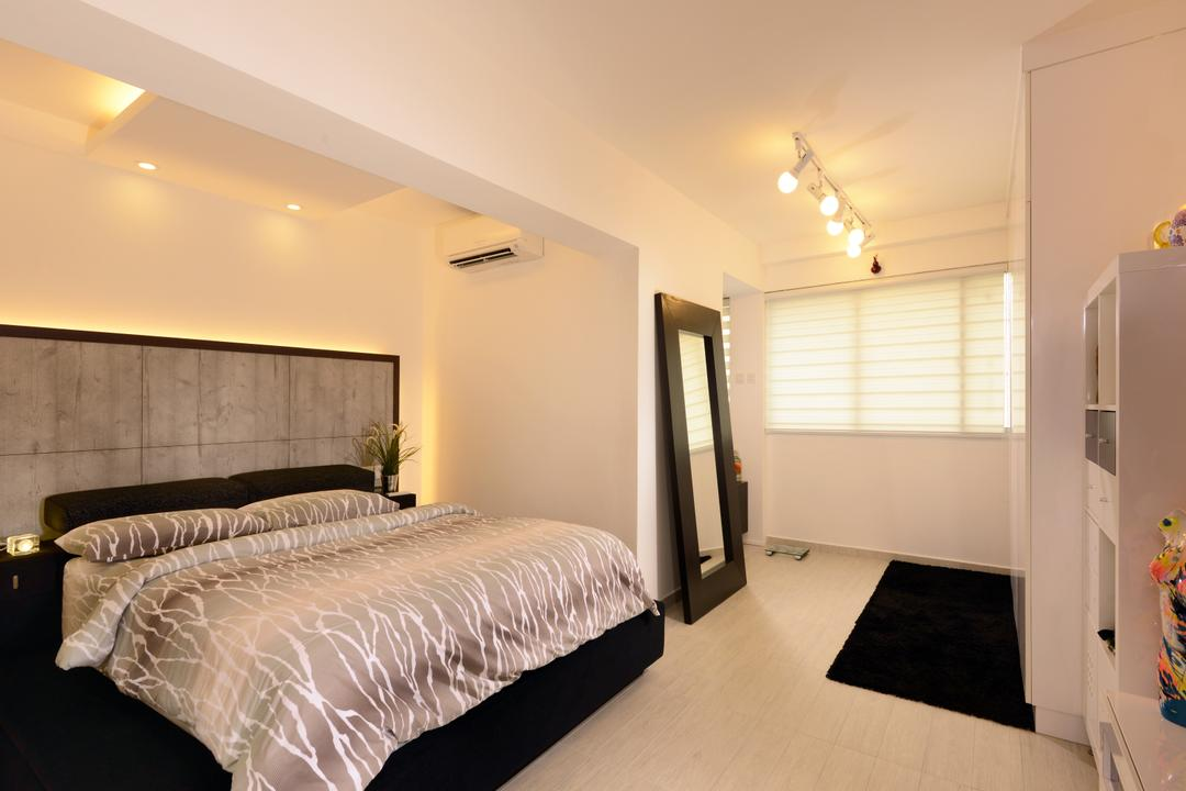 Bishan (Block 237), Urban Habitat Design, Contemporary, Bedroom, HDB, , Black And White Bedroom, Black And White, Headboard, Concealed Lighting, Carpet, Blinds, Full Length Mirror, Standing Mirror, Mirror, Indoors, Interior Design, Room, Bed, Furniture