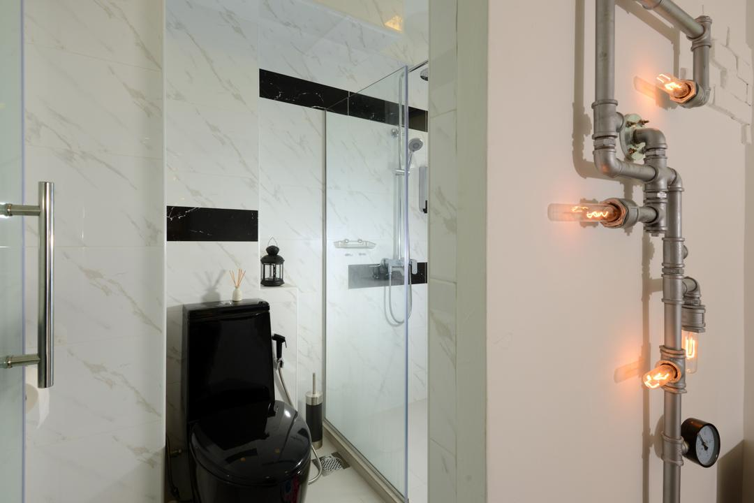Bishan (Block 237), Urban Habitat Design, Contemporary, Bathroom, HDB, Black Toilet Bowl, Toilet Bowl, Water Closet, Marble, Marble Tiles, Marble Wall, White Tiles, Shower Screen, Clean, Pipe Lighting, Plumbing