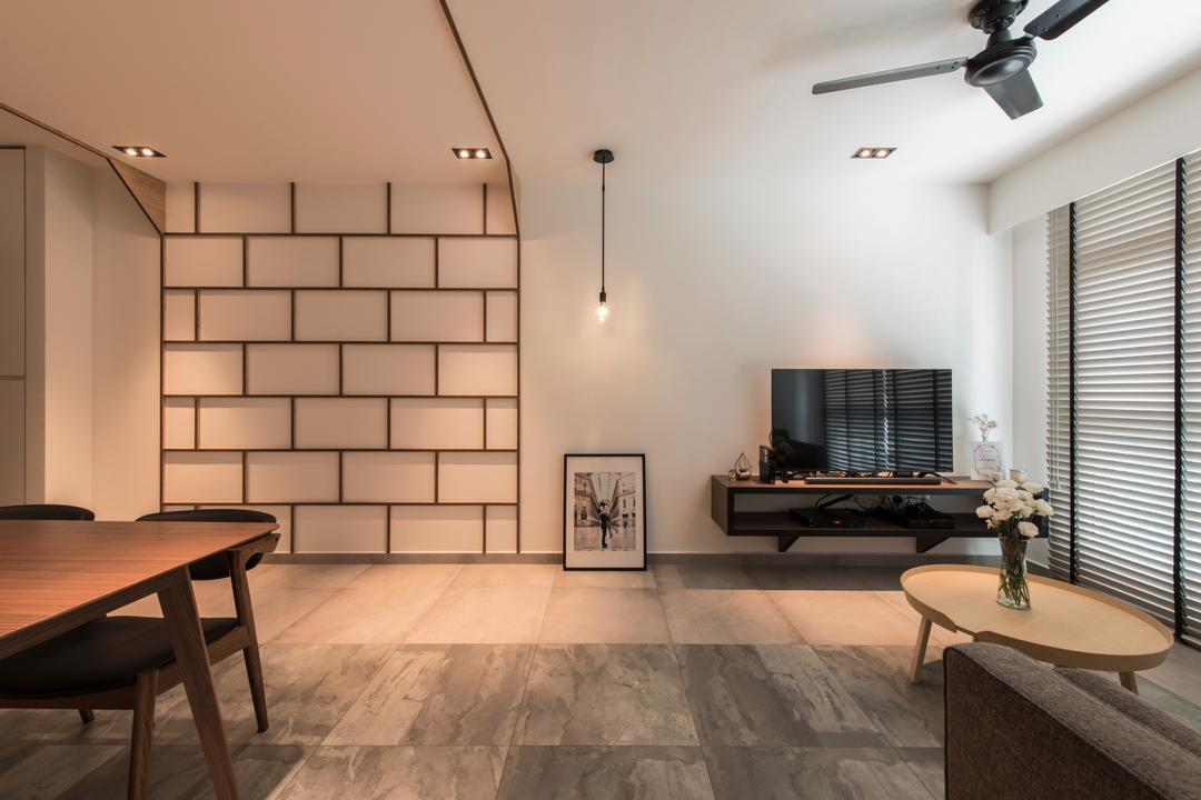 Boon Tiong (Block 10A), Habit, Contemporary, Living Room, HDB, Simple Feature Wall, Tiles, Spacious, Expansive, Venetian Blinds, Coffee Table, Round Coffee Table, Floating Tv Console, Picture Frame, Hanging Bulb, Recessed Lightings, Dining Table, Furniture, Table, Chair