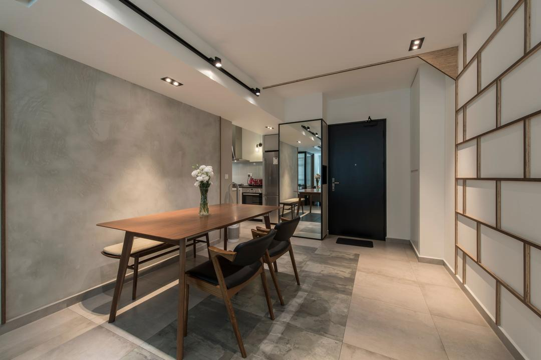 Boon Tiong (Block 10A), Habit, Contemporary, Dining Room, HDB, Cement Screeding, Cement Screed, Grey, Gray, Greyw All, Track Lights, Recessed Lighting, Doorway, Hallway, Entrance, Shoe Cabinet, Chair, Furniture, Building, Housing, Indoors, Loft