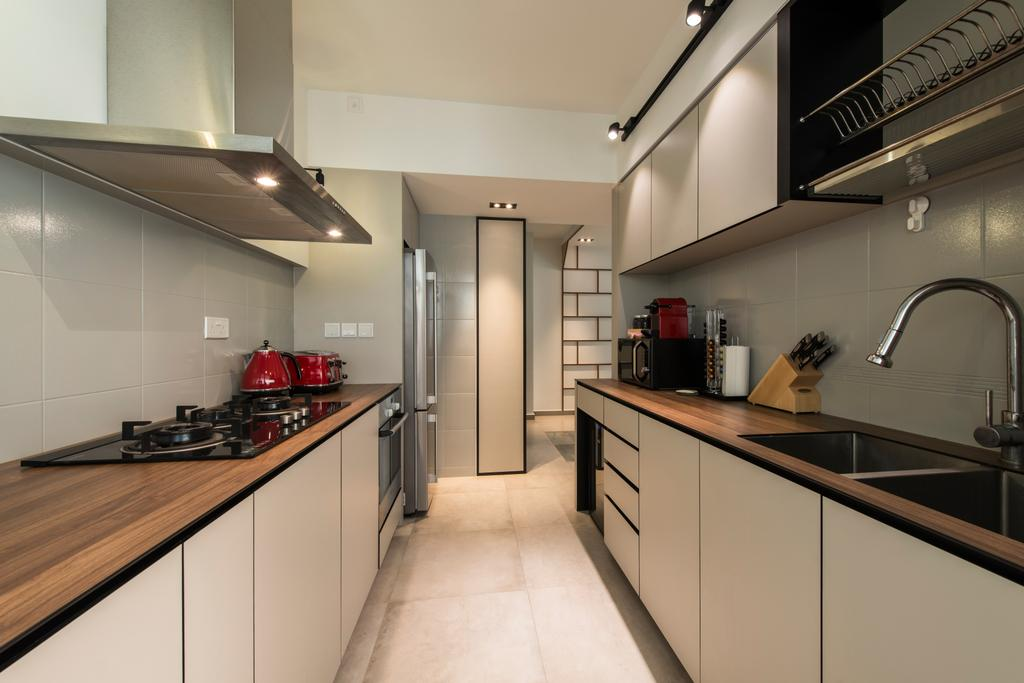 Contemporary, HDB, Kitchen, Boon Tiong (Block 10A), Interior Designer, Habit, Kompac Plus, Kompac, Kitchen Cabinets, Tiles, Sink, Faucet, Stove, Hob, Hood, Dish Rack, White And Brown, Indoors, Interior Design, Room, Tap