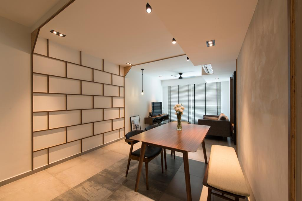 Contemporary, HDB, Dining Room, Boon Tiong (Block 10A), Interior Designer, Habit, Feature Wall, Recessed Lightings, Screed, Cement Screed, Cement Wall, Bench, Wooden Table, Warm, Cosy, Dining Table, Furniture, Table, Chair, Indoors, Interior Design, Room