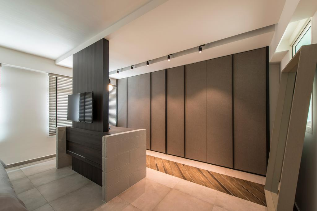 Contemporary, HDB, Bedroom, Boon Tiong (Block 10A), Interior Designer, Habit, Tv Feature Wall, Standing Mirror, Wardrobe, Dressing Room, Standing Dresser, Sliding Door, Knobless, Banister, Handrail, Staircase