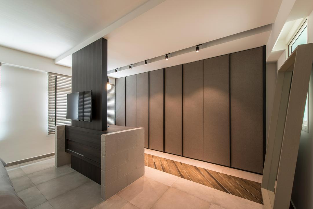 Boon Tiong (Block 10A), Habit, Contemporary, Bedroom, HDB, Tv Feature Wall, Standing Mirror, Wardrobe, Dressing Room, Standing Dresser, Sliding Door, Knobless, Banister, Handrail, Staircase