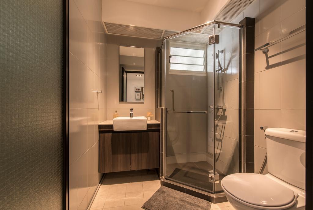 Contemporary, HDB, Bathroom, Boon Tiong (Block 10A), Interior Designer, Habit, Shower Cubicle, Odd Shaped, Odd Shape, Irregular Shaped, Water Closet, Vanity Sink, Vanity Counter, Vanity Cabinet, Long Mirror, Toilet, Indoors, Interior Design, Room