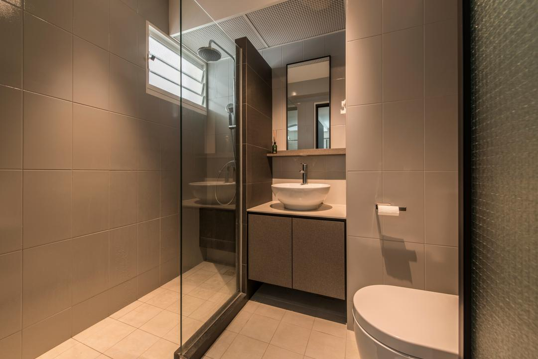 Boon Tiong (Block 10A), Habit, Contemporary, Bathroom, HDB, Shower, Glass Partition, Vanity Basin, Basin, Vanity Cabinet, Simple, Tiles, Brown, Cosy, Indoors, Interior Design, Room, Sink