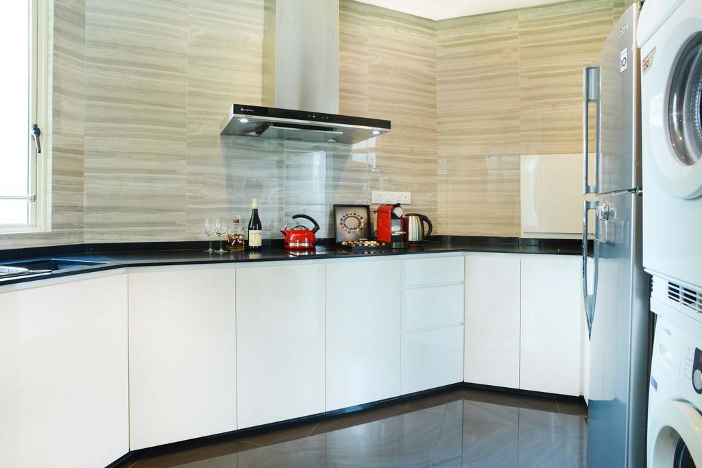 Modern, HDB, Kitchen, Harvest Mansion, Interior Designer, Cozy Ideas Interior Design, White Cabinet, White Kitchen Cabinet, Black Countertop, Exhaust Hood, Kitchen Tiles, Indoors, Interior Design, Room