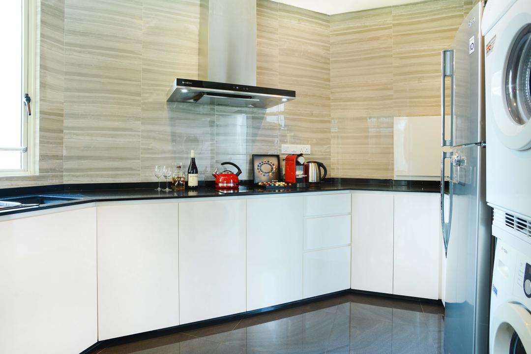 Harvest Mansion, Cozy Ideas Interior Design, Modern, Kitchen, HDB, White Cabinet, White Kitchen Cabinet, Black Countertop, Exhaust Hood, Kitchen Tiles, Indoors, Interior Design, Room