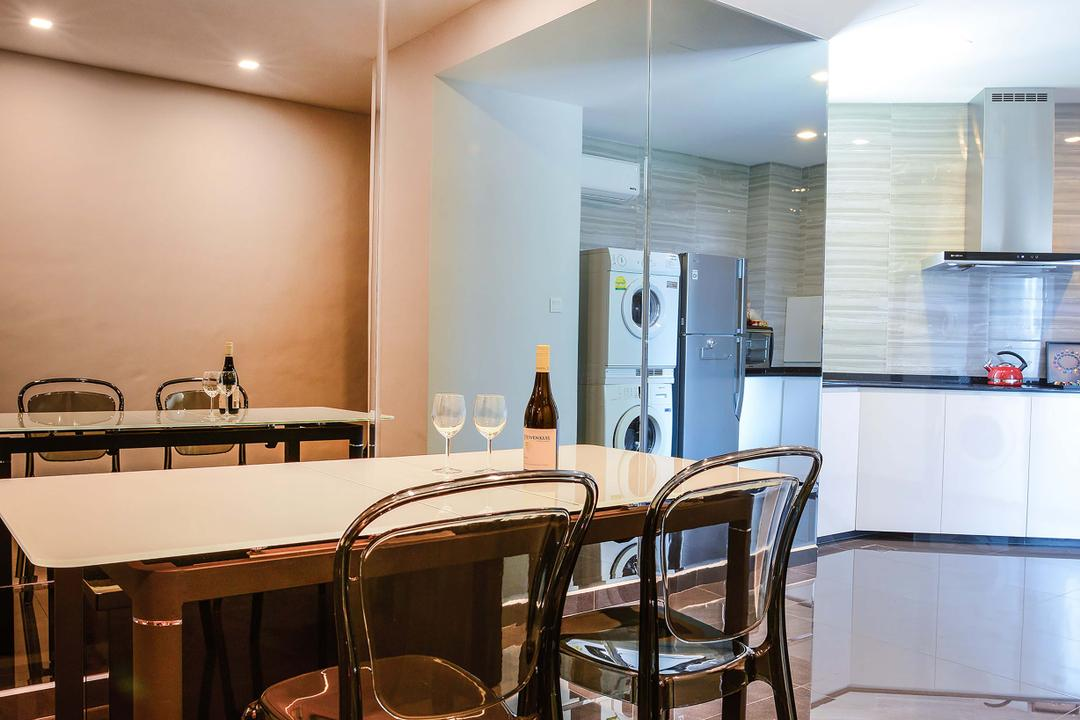 Harvest Mansion, Cozy Ideas Interior Design, Modern, Dining Room, HDB, Dining Table, Dining Chairs, Floor Tiles, Marble Tiles, Downlight, Mirror Panels, Reflective Panels, Chair, Furniture, Table, Indoors, Interior Design, Room