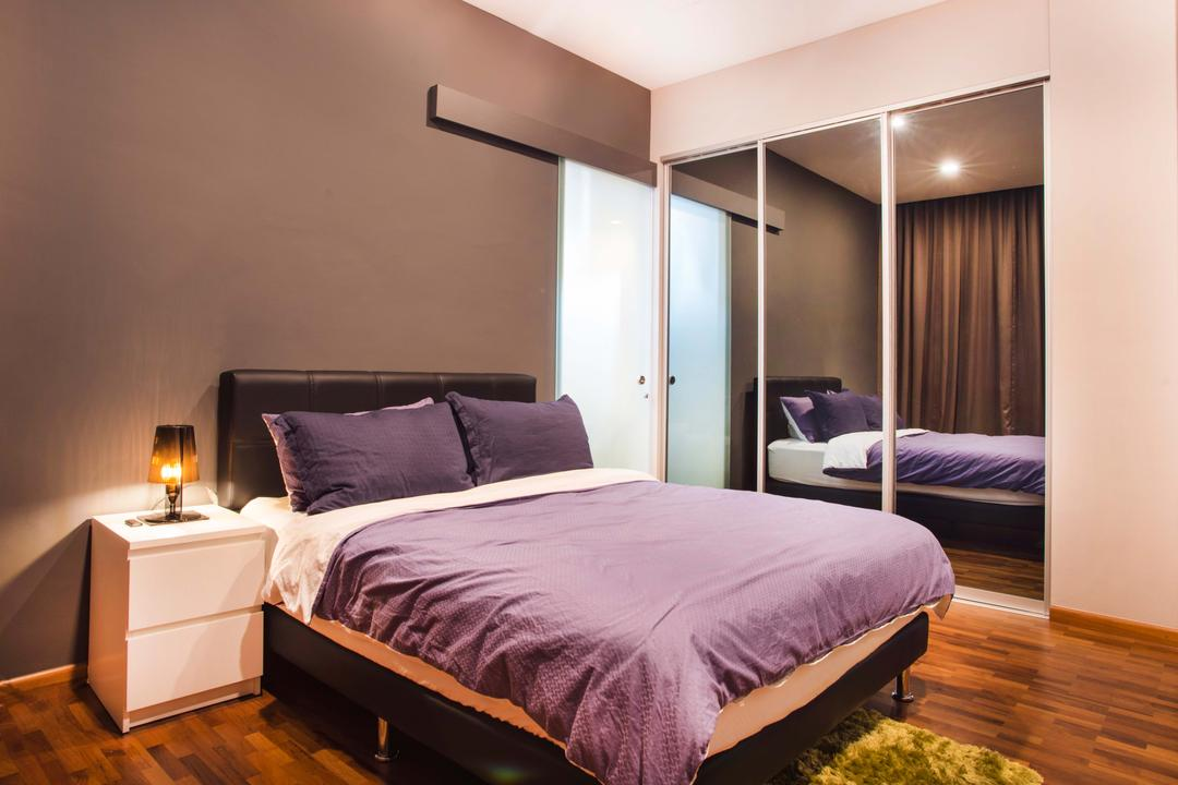 Harvest Mansion, Cozy Ideas Interior Design, Modern, Bedroom, HDB, Bed, Headboard, Bedside Table, Bedside Lamp, Table Lamp, Purple Bed, Mirror, Mirror Panels, Grey Wall, Furniture, Indoors, Interior Design, Room