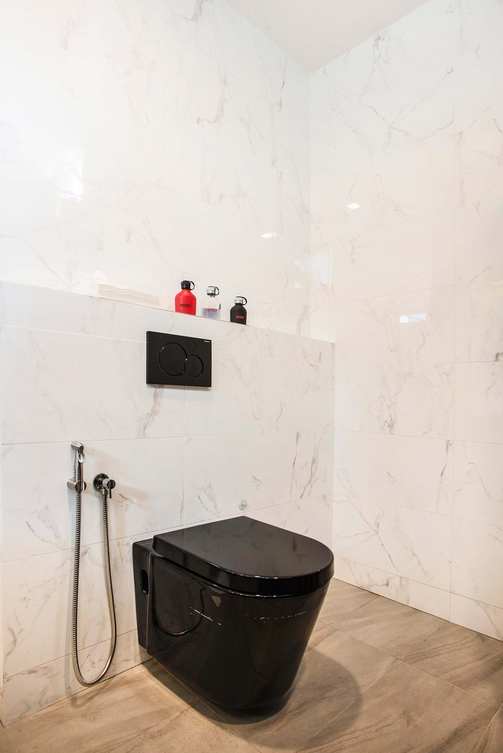 Modern, HDB, Bathroom, Harvest Mansion, Interior Designer, Cozy Ideas Interior Design, Toilet Bowl, Black Toilet Bowl, Water Closet, Marble Wall, Marble