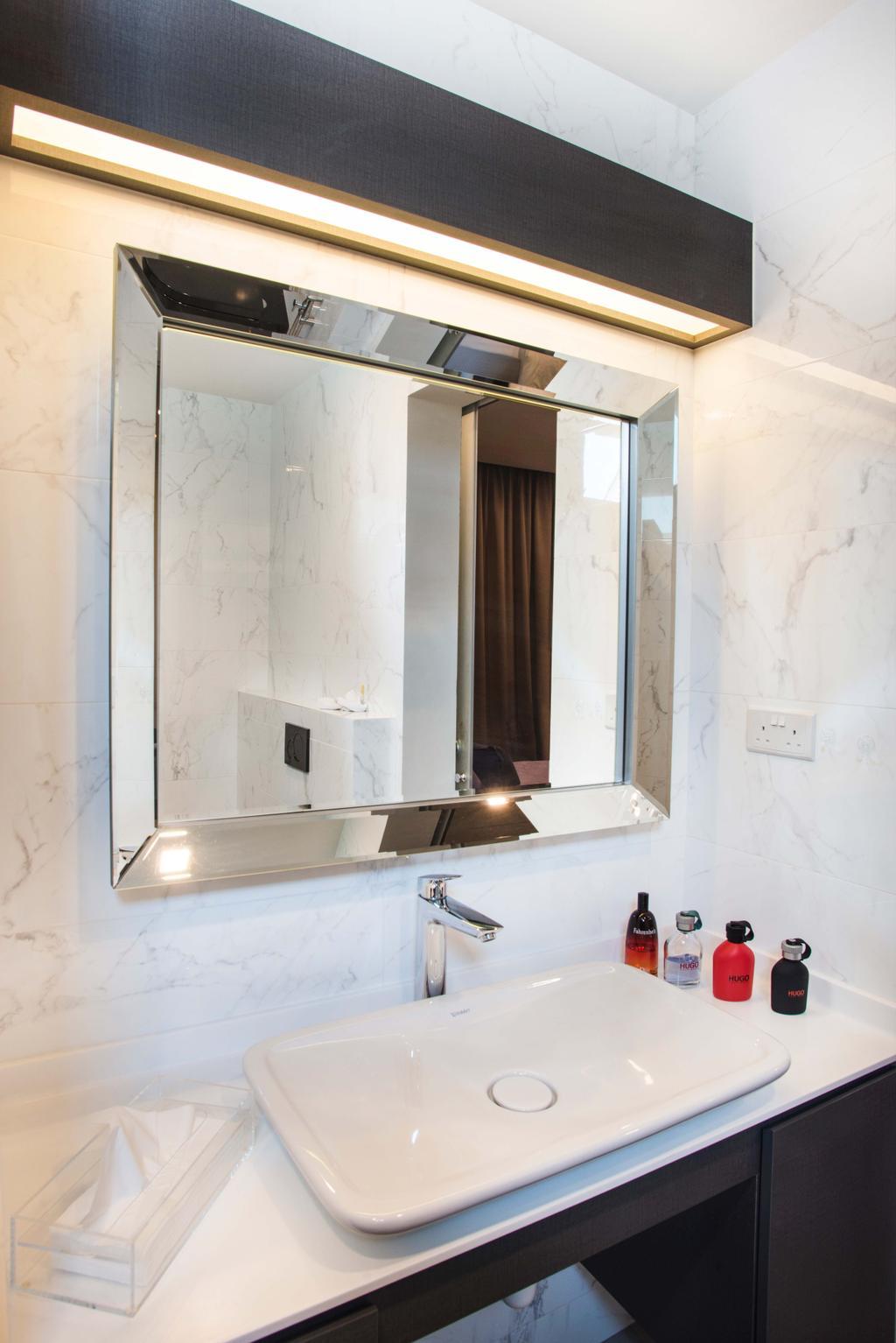Modern, HDB, Bathroom, Harvest Mansion, Interior Designer, Cozy Ideas Interior Design, Bathroom Vanity, Mirror, Rectangular Mirror, Vessel Sink, Marble Wall