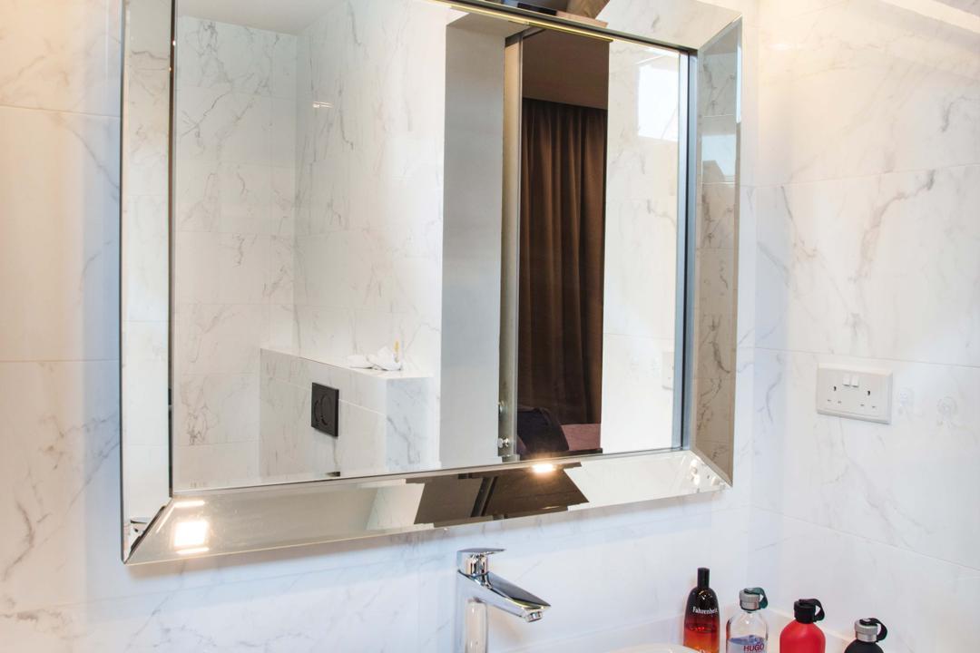 Harvest Mansion, Cozy Ideas Interior Design, Modern, Bathroom, HDB, Bathroom Vanity, Mirror, Rectangular Mirror, Vessel Sink, Marble Wall