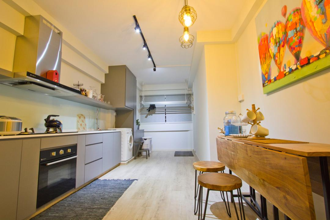 Tampines Street 43 (Block 434), MET Interior, Retro, Kitchen, HDB, Extendable Table, Stool, Wooden Table, Wall Art, Linear Layout, Appliance, Electrical Device, Oven, Art, Modern Art, Flooring, Dining Room, Indoors, Interior Design, Room, Dining Table, Furniture, Table