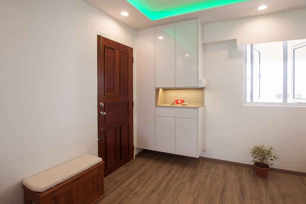 Modern, HDB, Serangoon North, Interior Designer, Space Atelier, Wood Floor, Wooden Flooring, Cabinet, White Cabinet, Door, Bench, Cushioned Bench
