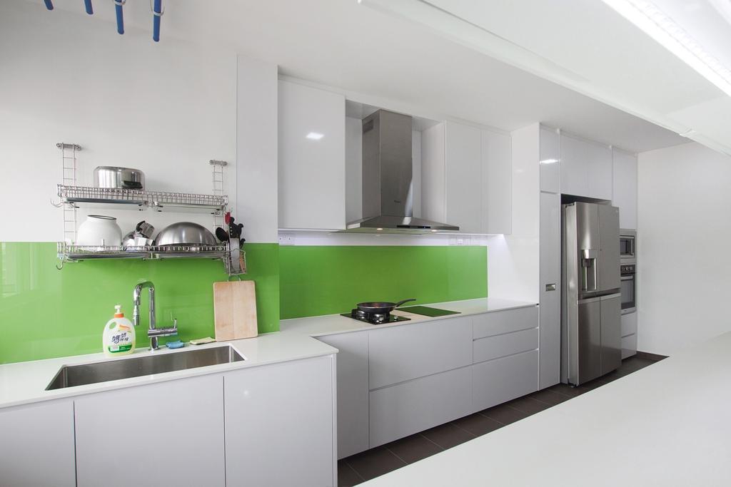 Modern, HDB, Kitchen, Serangoon North, Interior Designer, Space Atelier, Exhaust Hood, White Cabinet, Refrigerator, Kitchen Cabinet, Kitchen Sink, Sink, Kitchen Rack, Green Backsplash