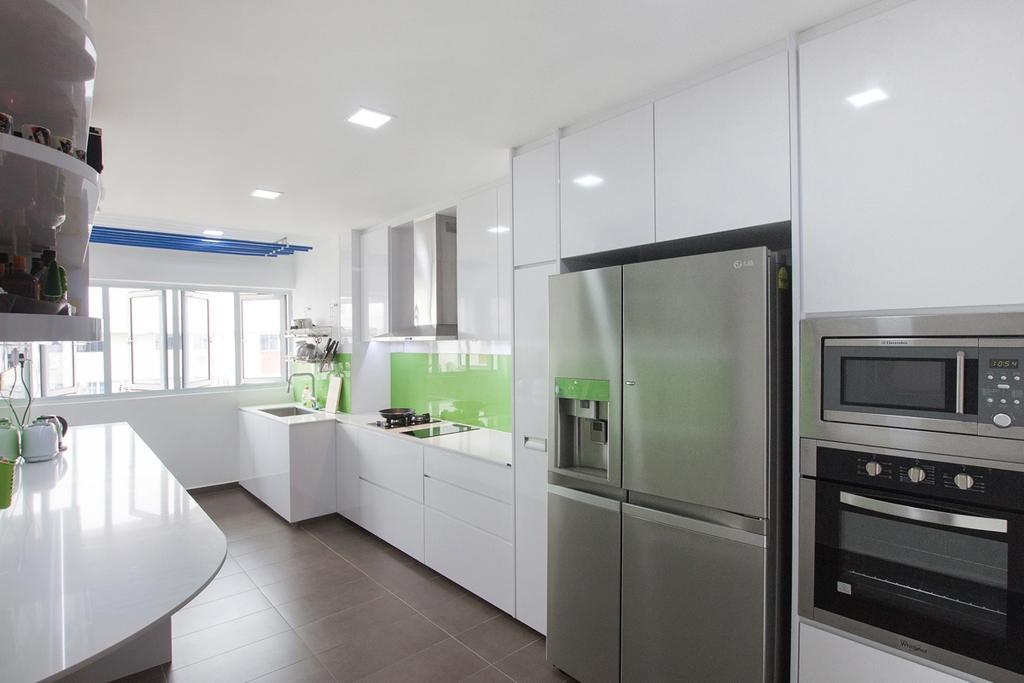 Modern, HDB, Kitchen, Serangoon North, Interior Designer, Space Atelier, Refrigerator, White Cabinet, Floor To Ceiling Cabinet, White Kitchen Cabinet, Oven, All White