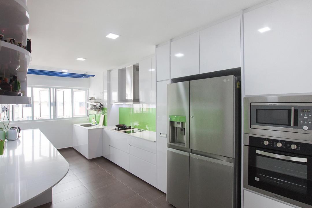 Serangoon North, Space Atelier, Modern, Kitchen, HDB, Refrigerator, White Cabinet, Floor To Ceiling Cabinet, White Kitchen Cabinet, Oven, All White