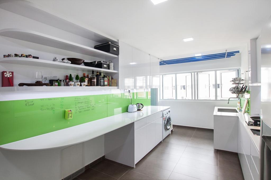 Modern, HDB, Kitchen, Serangoon North, Interior Designer, Space Atelier, Kitchen Countertop, White Countertop, Shelf, Kitchen Shelf, Kitchen Storage, Storage, Washing Machine, All White, Clean